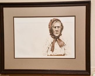 130. Dale Rayburn Amer. b. 1942 Native Etching Signed  Framed