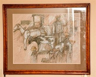 131. Framed Vintage Charcoal Pastle Post Modern Artwork