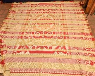 133. Fine Antique c.1849 OHIO Hand Made CoverlettBlanket