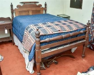 135. Antique Turned Carved Wood Victorian Style Rope Bed