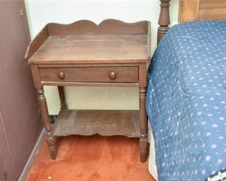 136. Antique Stained Pine Wood Side Table