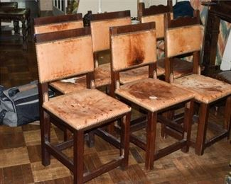138. Set of Six 6 SouthwestMission Style Side Chairs wLeather Seats