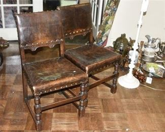 139. Pair SouthwestMission Style Oak Side Chairs wLeather Seats