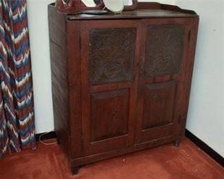 140. Fine Antique Pine Kitchen Pie Safe Cabinet wTin Panels
