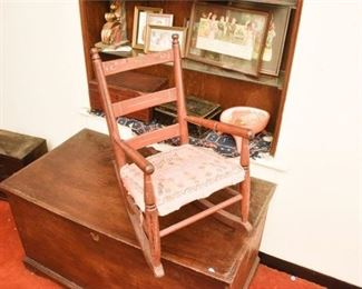 141. Antique Painted Maple Childrens Rocking Chair wSampler Seat