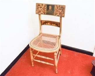 143. Unusual Painted Maple Side Chair WPortrait Back Rest