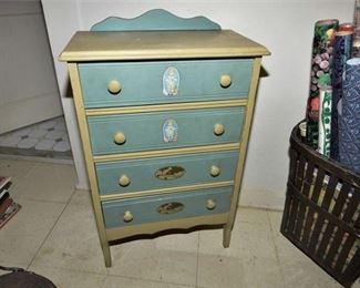 145. Antique Childrens Dresser wApplied Decoration