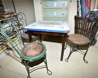 147. Antique Childrens Enamel Top Table  Twist Wire Metal Chairs