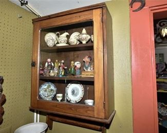 148. Nice Antique Oak Glass Front Wall Cabinet