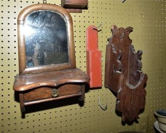 149. Antique Wall Mount Shaving Mirror wWooden Wall Pockets