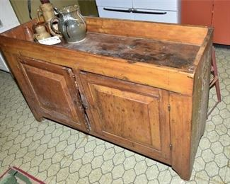 150. Nice Antique Pine Kitchen Work Station wStorage