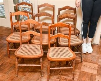 155. Set of Eight 8 Antique Maple Side Chairs wCane Seating
