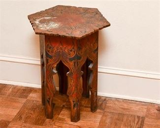 157. Antique Mahogany Side Table wImpressed Art Nouveau Design