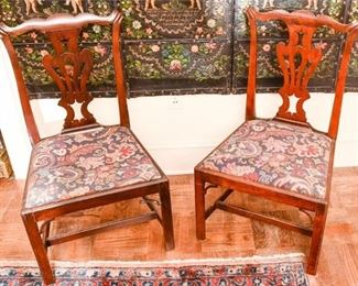 158. Pair Antique Mahogany CHIPPENDALE Side Chairs