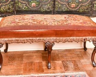 159. Antique Mahogany Queen Anne Hall Bench