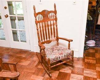 161. Victorian Carved Oak Rocking Chair