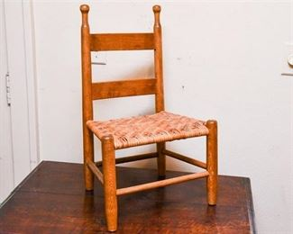 163. Antique Country Style Oak Childrens Side Chair wRush Seat