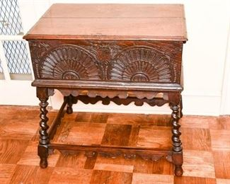 164. Fine Antique Carved Oak Storage Chest on Stand