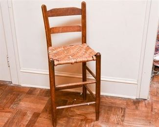 165. Country Primitive Oak High Chair wRush Seat