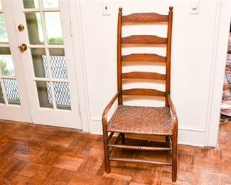 166. Antique Oak Bent Wood Armchair