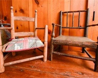 167. Two 2 Primitive Antique Wooden Childrens Armchairs