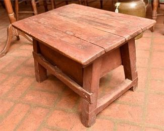 168. Hand Made Antique Wooden Stool wStorage Drawer