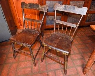 169. Two 2 Antique Painted Side Chairs