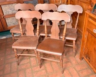 171. Five 5 Vintage Pine Country Side Chairs