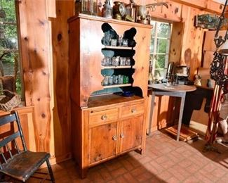 173. Nice Antique Pine Country Primitive HutchCupboard