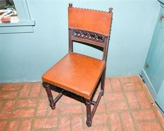 177. Vintage Gothic Style Oak Side Chair wLeather Seat