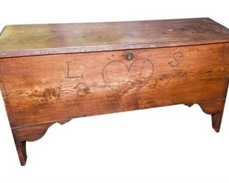 180. c.1835 Pine BlanketHope Chest wDecoration