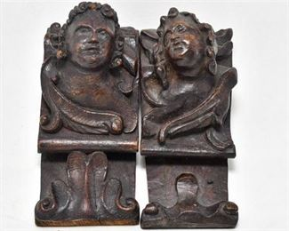 185. Pair Antique Carved Oak Figurines