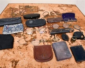 190. Old Antique EyeglassesMagnifiers wCases  Extras