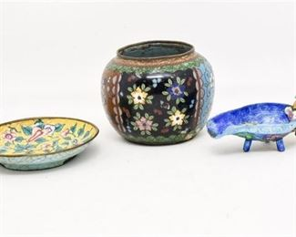 196. Three 3 Chinese Cloisonne Objects wPipe RestJarDish