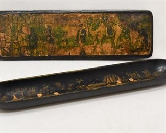 199. Antique Chinese Lacquered Pen Rest wWriting Box