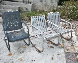 210. Three 3 Vintage Metal Outdoor Armchairs