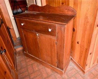 214. Antique Pine Wood Side Cupboard Cabinet