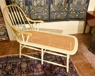 218. Vintage Painted Windsor Spindle Back Chaise Lounge
