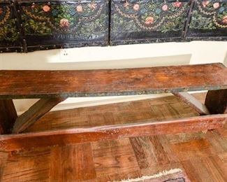 219. Crude Country Style Antique Oak Hall Bench