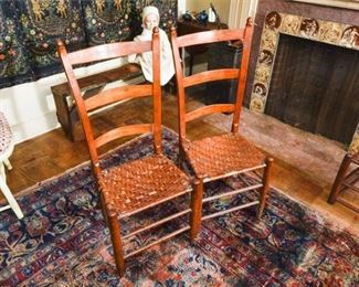 221. Pair Antique American Ladder Back Side Chairs