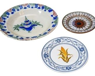 243. Three Majolica Plates