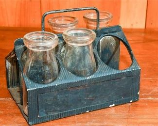 254. Antique Milk Bottles with Tin Carrier