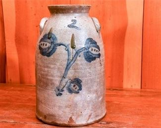262. Unusual Stoneware Crock with Floral Paint Decoration