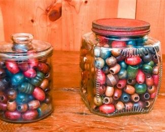 271. Two Jars Containing Wooden Beads