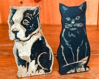 273. Vintage Wooden Cat and Dog Doorstops