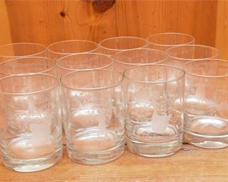 276. Twelve Etched Glass Tumblers