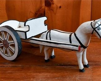 284. Painted Wooden Folk Art Horse Drawn Cart