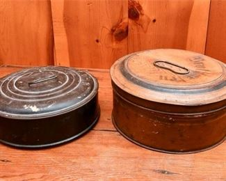 285. Two Vintage Cylinder Form Lidded Tins