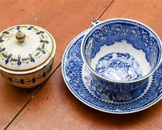 296. Antique Porcelain Cup Saucer and Lidded Bowl