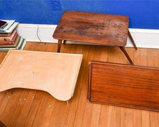 302. Three Wooden Folding Tray Tables